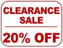 20 Off Clearance Sale Sign