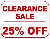 25% Off Clearance Sale Sign