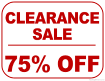 75% Off Clearance Sale Sign