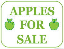 Apples For Sale Sign