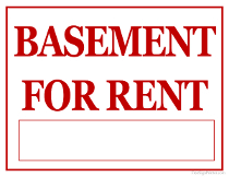 Basement For Rent Sign