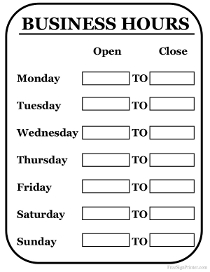 Opening hours sign template printable printable business signs cheaphphosting Image collections