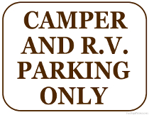 Camper and RV Parking Sign