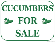 Cucumbers For Sale Sign