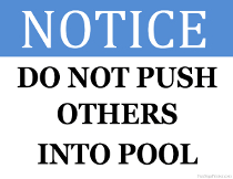Do Not Push Others into Pool Sign