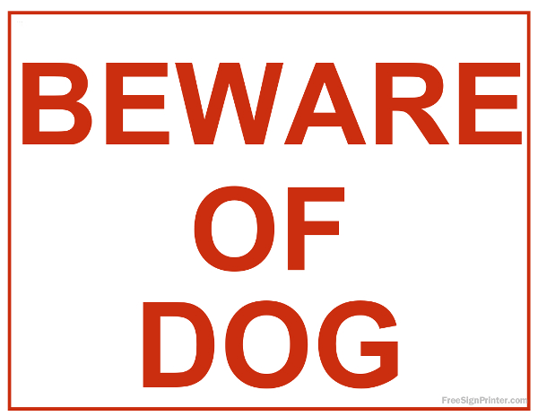 Free Beware Of Dog Sign - Version 1