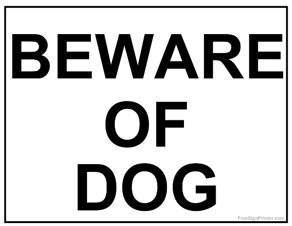 Free Beware Of Dog Sign - Printable Version 2