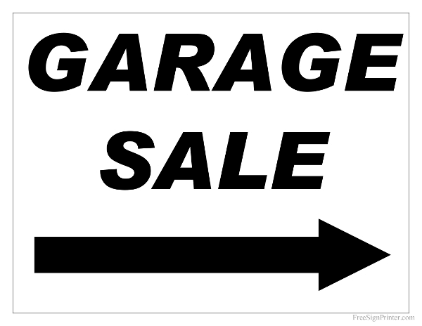 Dashing image within printable garage sale signs