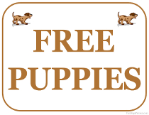 Free Puppies Sign
