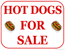 Hot Dogs For Sale Sign