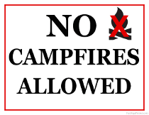 No Campfires Allowed Sign