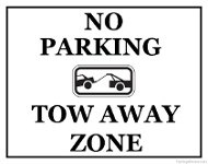 Printable No Parking Tow Away Zone Sign