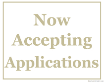 Now Acceptin Applications Sign