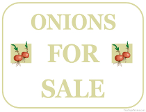 Onions For Sale Sign
