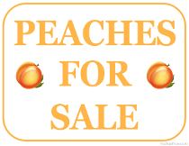 Peaches For Sale Sign
