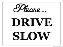 Please Drive Slow Sign