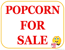 Popcorn For Sale Sign