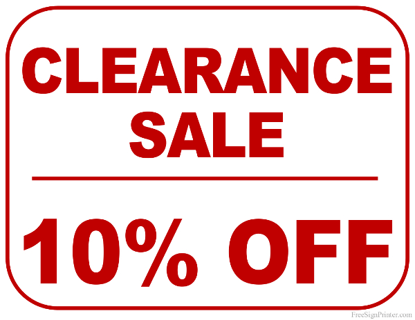 Printable 10 Percent Off Clearance Sale Sign