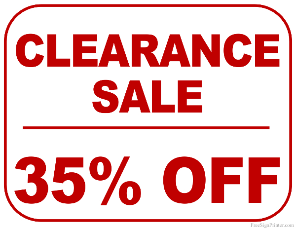 Printable 35 Percent Off Clearance Sale Sign