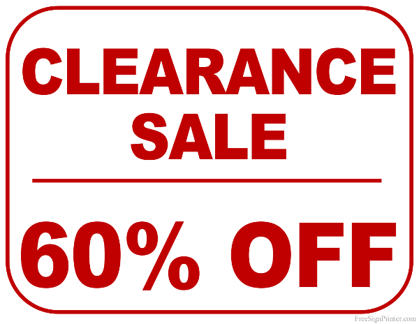 Printable 60 Percent Off Clearance Sale Sign