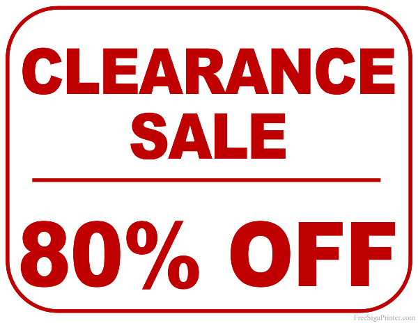 Printable 80 Percent Off Clearance Sale Sign