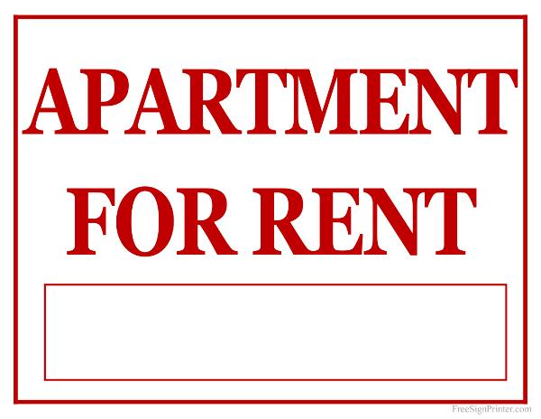 printable apartment for rent sign. Black Bedroom Furniture Sets. Home Design Ideas