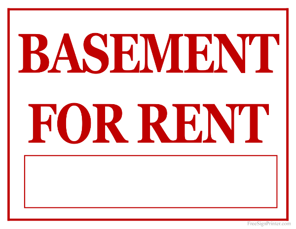 Printable Basement For Rent Sign