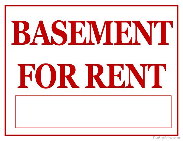 printable basement for rent sign