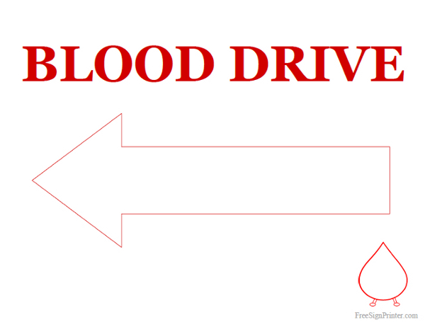 Printable Blood Drive with Arrow Pointing Left Sign