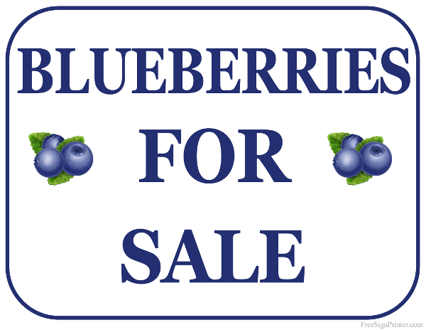 Printable Blueberries For Sale Sign