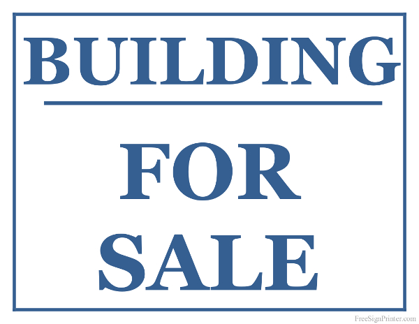 Printable Sign For Sale: Printable Building For Sale Sign
