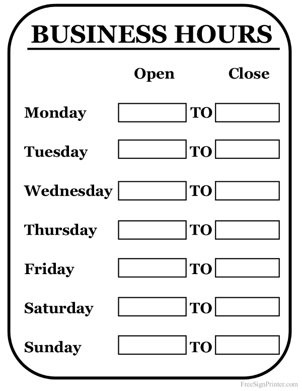 Printable business hours sign for Hours of operation template microsoft word