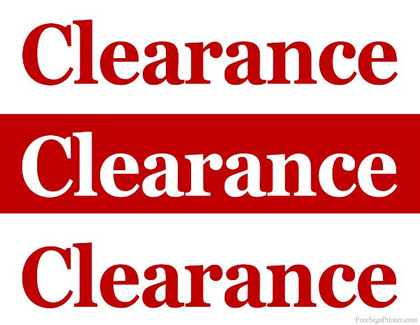 printable clearance sale sign. Black Bedroom Furniture Sets. Home Design Ideas