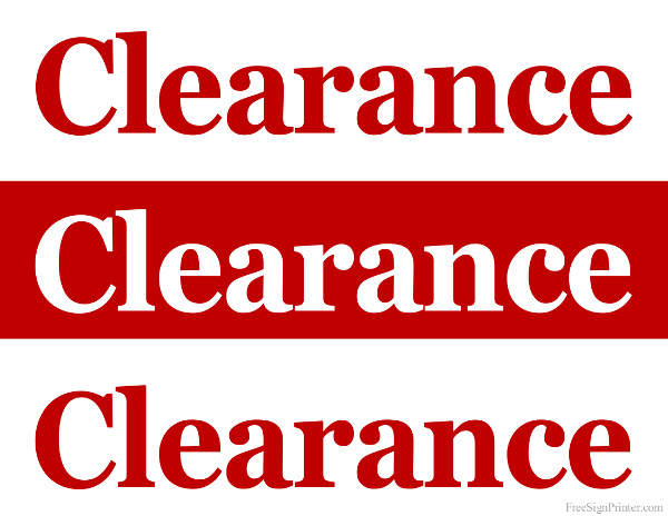 picture relating to Printable Sale Sign titled Printable Clearance Sale Signs or symptoms - Shop Clearance Indicators