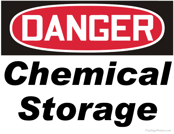 Printable Danger Chemical Storage Sign