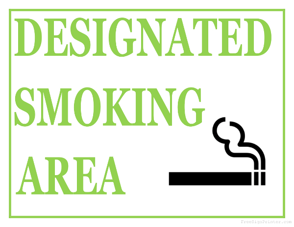 Printable Designated Smoking Area Sign