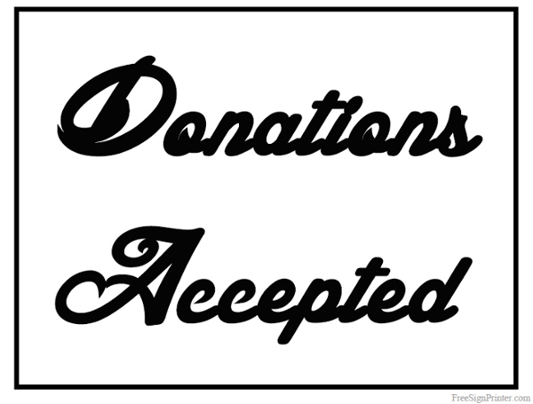 Printable Donations Accepted Sign