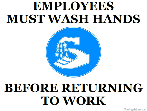 Printable Employees Must Wash Hands Sign