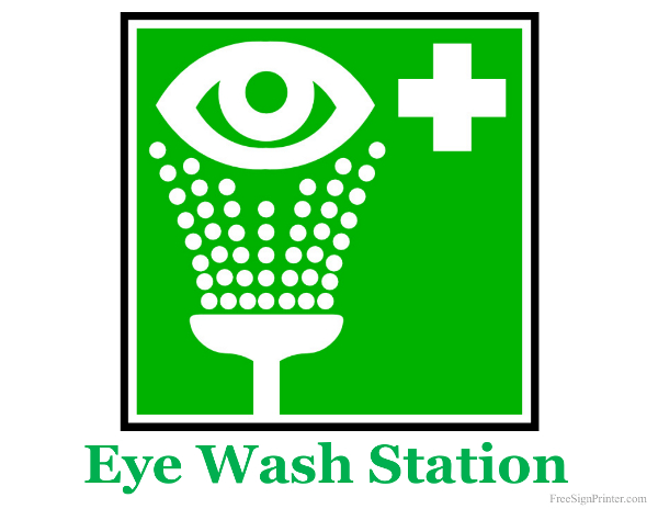 Printable Eye Wash Station Sign