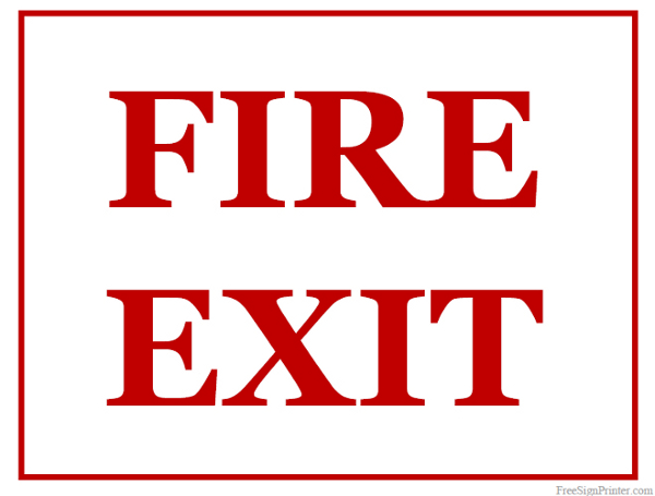 Printable Fire Exit Sign