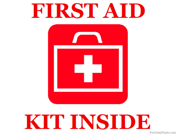 Printable First Aid Kit Inside Sign