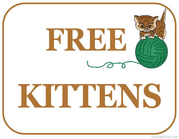 Printable Free Kittens Sign