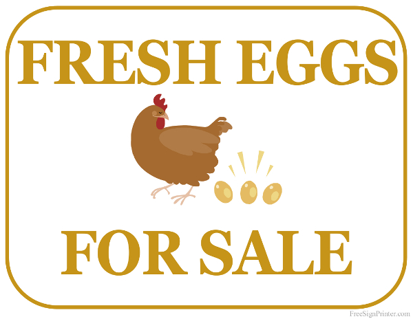 picture about For Sale Sign Printable identified as Printable Fresh new Eggs For Sale Indication