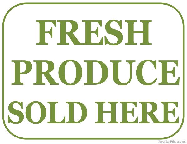Printable Sign For Sale: Printable Fresh Produce For Sale Sign