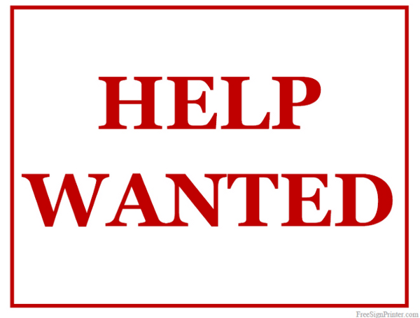 This is a picture of Help Wanted Sign Printable regarding realistic