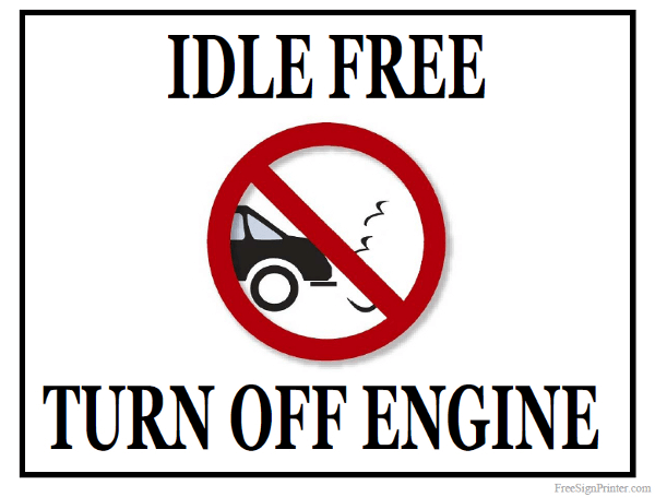 Printable Idle Free Turn Off Engine Sign