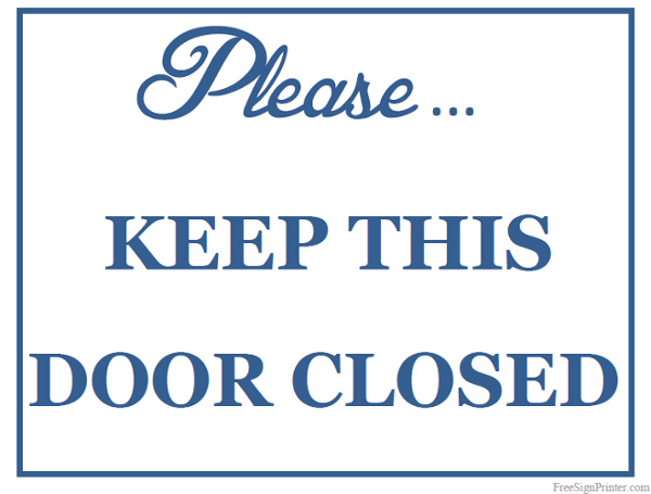Printable Keep Door Closed Sign