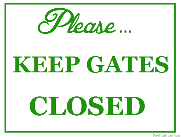 Printable Keep Gates Closed Sign