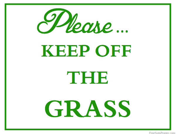 Printable Keep Off The Grass Sign