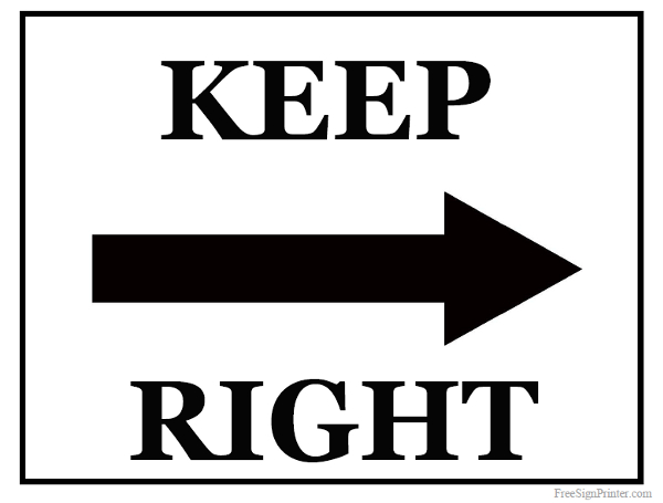printable keep right sign